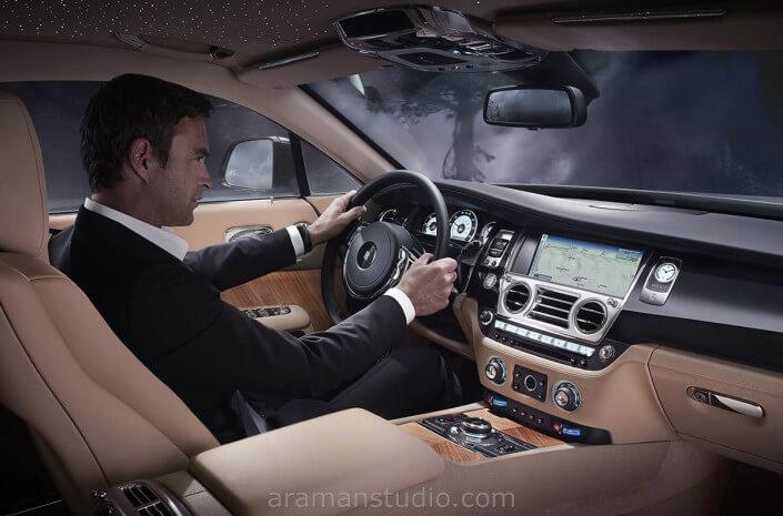 inside car photography